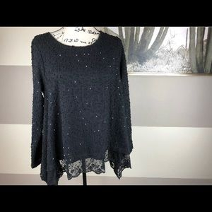 Alfani Black Long Sleeve Sequin with Lace Blouse L